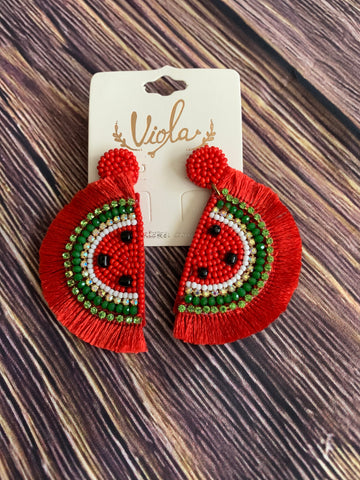 Watermelon crawl earrings