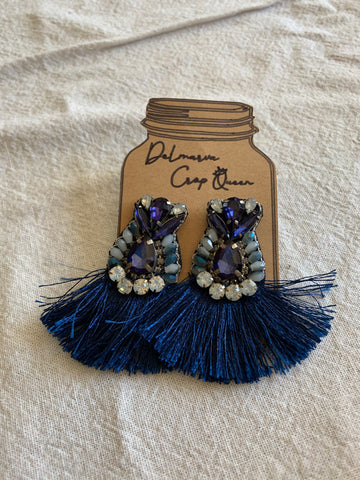 Navy Blue Jeweled Drops