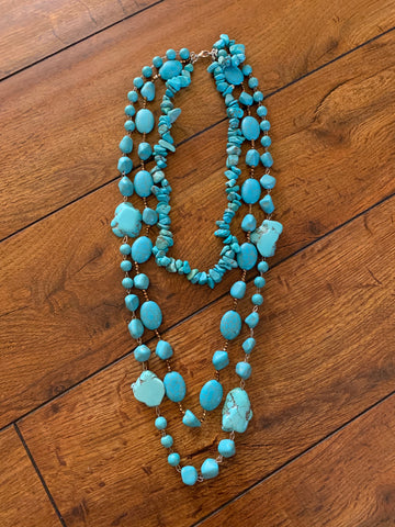 Chunky stone layered necklace