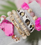 Pink turquoise leopard stack set