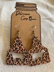 Wooden show steer leopard earrings