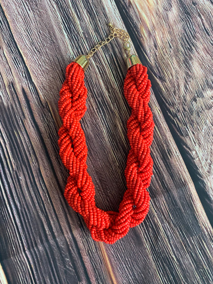 Seed rope rodeo red necklace