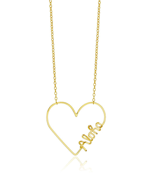Custom Heart Word Necklace - Devin Krista Jewelry