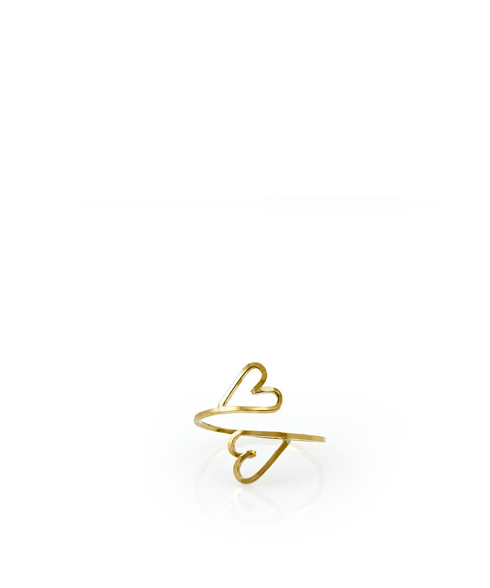 Double Heart Split Ring - Devin Krista Jewelry