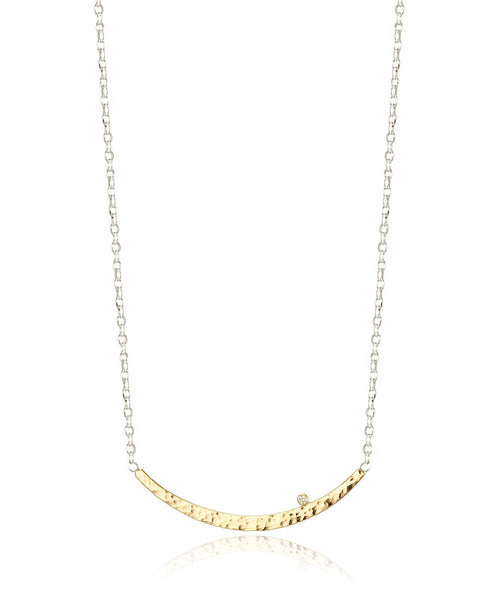 Hammered Crescent Silver Necklace - Devin Krista Jewelry