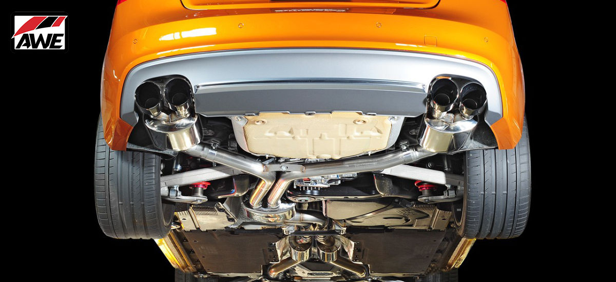 AWE Tuning Touring Edition Non-Resonated Exhaust System Quad Chrome Tips Audi S5 Cabrio B8 B8.5 | AWE 3415-42034