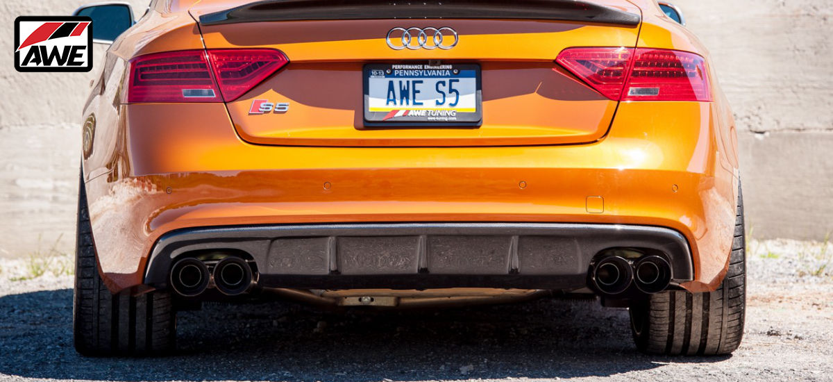 AWE Tuning Track Edition Exhaust System Quad 90mm Chrome Tips Audi S5 Coupe B8 B8.5 | AWE 3010-42046