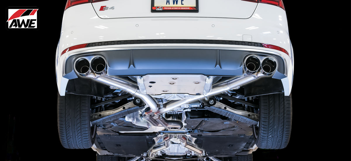 AWE Tuning Track Edition Exhaust System Quad 90mm Black Tips Audi S4 B9 | AWE 3010-43052