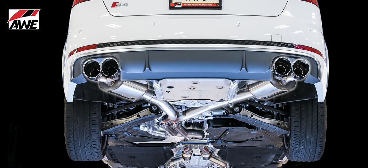 AWE Tuning Touring Edition Exhaust System Quad 90mm Chrome Tips Audi S4 B9 | AWE 3010-42060