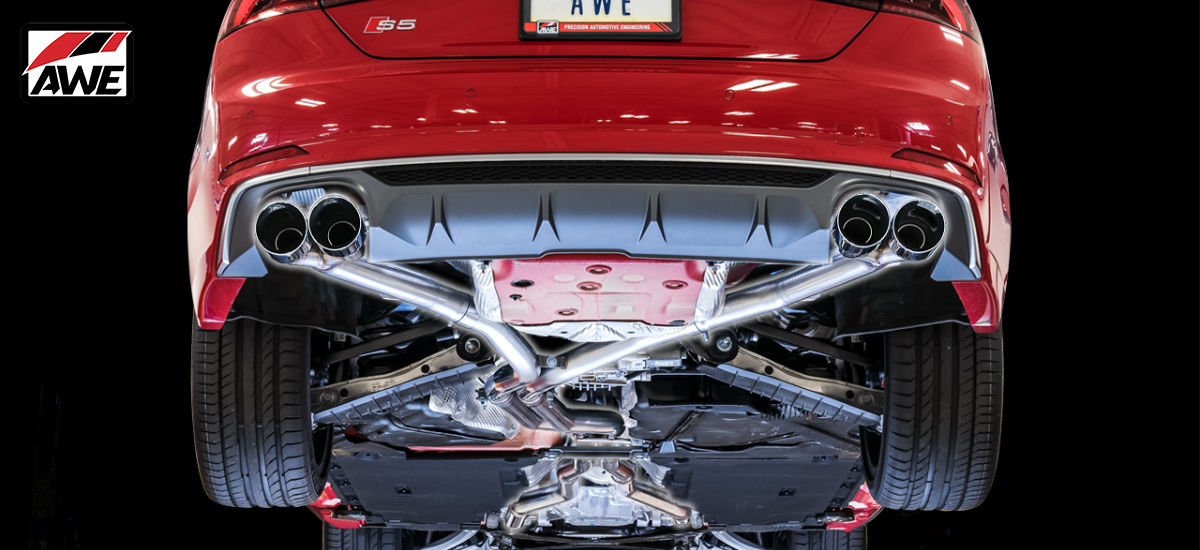 AWE Tuning Track Edition Exhaust System Quad 102mm Chrome Tips Audi S5 Coupe B9 | AWE 3010-42064