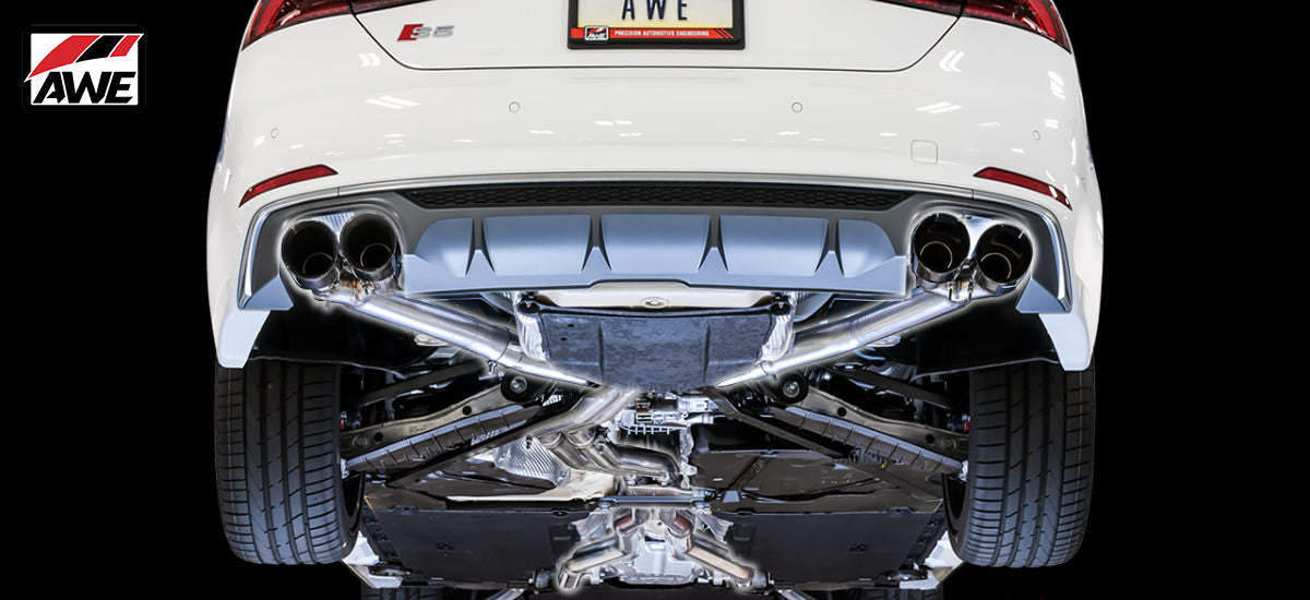 AWE Tuning Track Edition Exhaust System Quad 102mm Black Tips Audi S5 Sportback B9 | AWE 3010-43062
