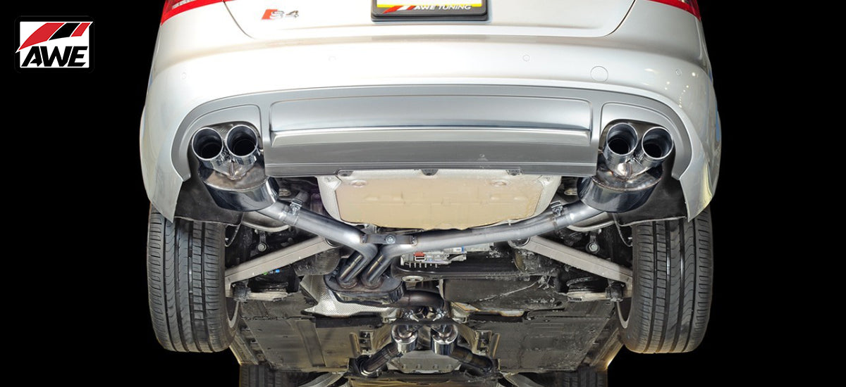 AWE Tuning Touring Edition Exhaust System Quad 102mm Chrome Tips Audi S4 B8 B8.5 | AWE 3010-42016