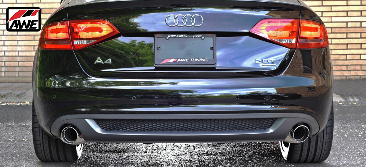 AWE Tuning Touring Edition Exhaust System Quad Polished Tips Audi A4 B8 B8.5 | AWE 3015-42018