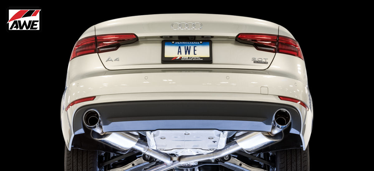 AWE Tuning Touring Exhaust System Dual Black Tips Audi A4 B9 | AWE 3015-33078