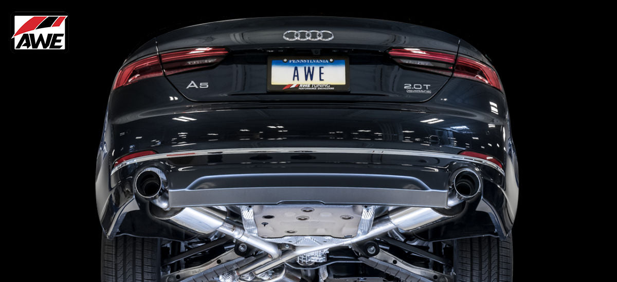 AWE Tuning Touring Exhaust System Dual Black Tips Audi A5 B9 | AWE 3015-33090