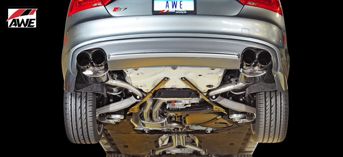 AWE Tuning Touring Edition Exhaust System Quad Black Tips Audi S7 C7 C7.5 | AWE 3015-43014