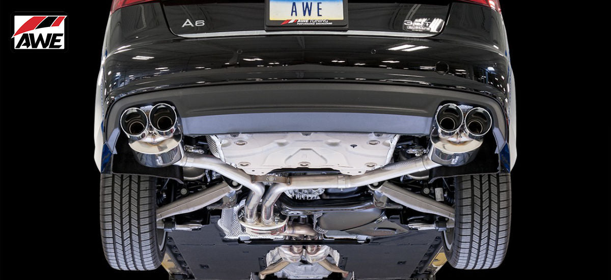 AWE Tuning Touring Exhaust System Quad Black Tips Audi A6 C7.5 | AWE 3015-43076