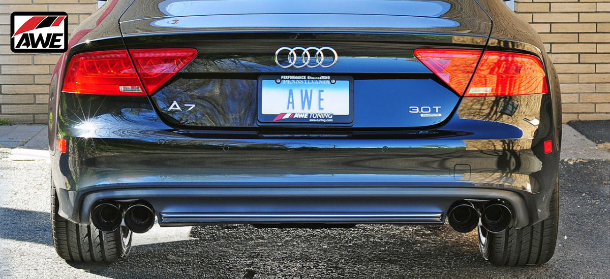 AWE Tuning Touring Exhaust System Quad Black Tips Audi A7 C7 | AWE 3015-43078