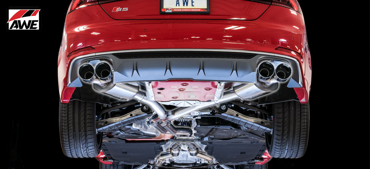 AWE Tuning Touring Edition Exhaust System Quad 90mm Chrome Tips Audi S5 Coupe B9 | AWE 3015-42086