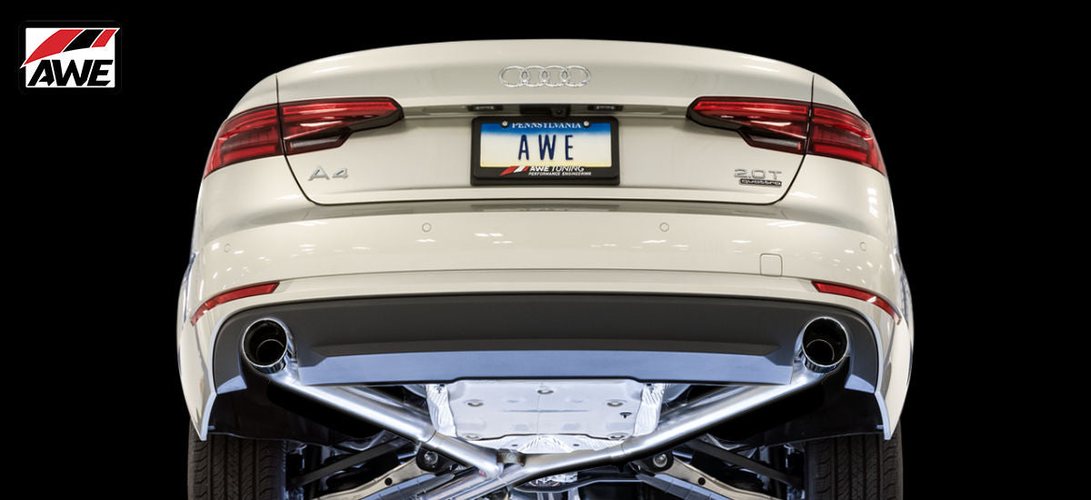AWE Tuning Track Exhaust System Dual Chrome Tips Audi A4 B9 | AWE 3020-32024