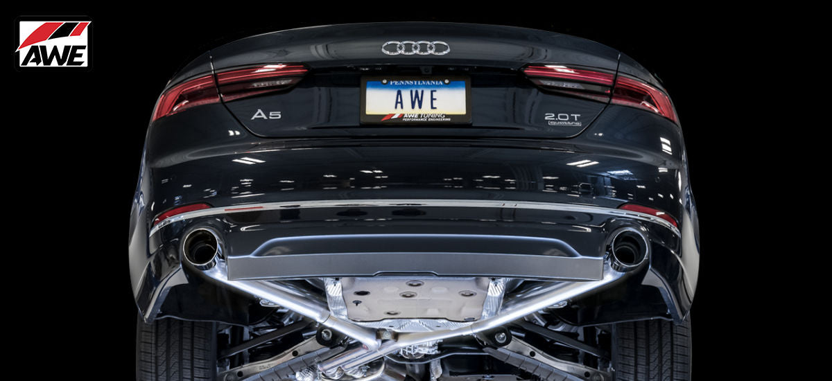 AWE Tuning Track Exhaust System Dual Chrome Tips Audi A5 B9 | AWE 3020-32032