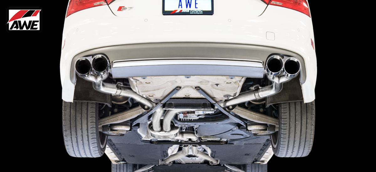 AWE Tuning Track Edition Exhaust System Quad Black Tips Audi S6 C7 C7.5   AWE 3020-43050