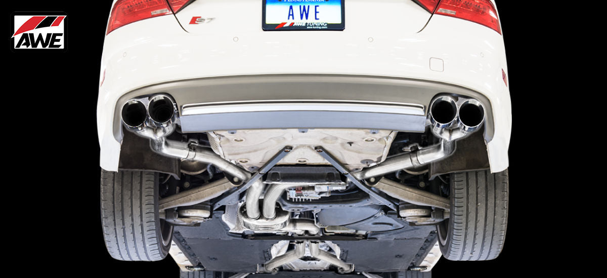 AWE Tuning Track Edition Exhaust System Quad Black Tips Audi S7 C7 C7.5 | AWE 3020-43052