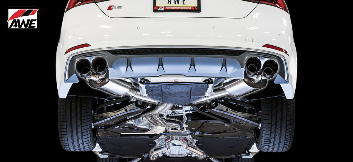 AWE Tuning Touring Edition Exhaust System Quad 90mm Chrome Tips Audi S5 Sportback B9 | AWE 3020-42054