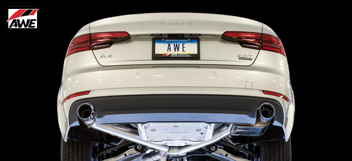 AWE Tuning SwitchPath Exhaust System Dual Black Tips Audi A4 B9 | AWE 3025-33014