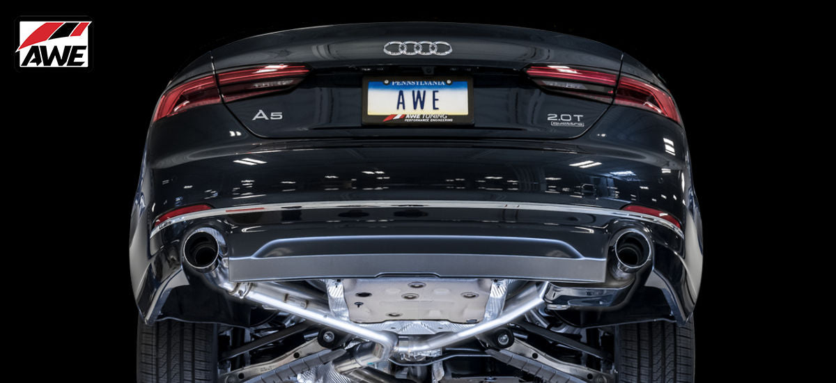 AWE Tuning SwitchPath Exhaust System Dual Black Tips Audi A5 B9 | AWE 3025-33026