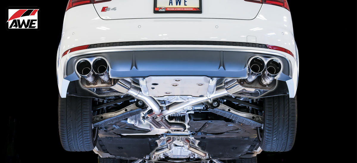 AWE Tuning SwitchPath Exhaust System Quad 90mm Chrome Tips Audi S4 B9 | AWE 3025-42034