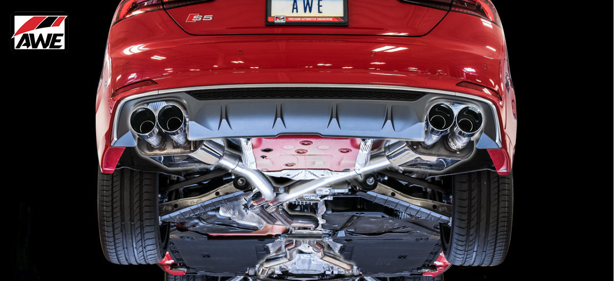 AWE Tuning SwitchPath Exhaust System Quad 90mm Black Tips Audi S5 Coupe B9 | AWE 3025-43040