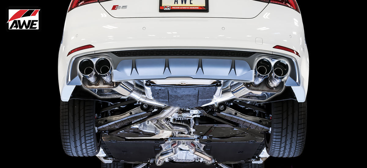AWE Tuning SwitchPath Exhaust System Quad 102mm Chrome Tips Audi S5 Sportback B9 | AWE 3025-42042