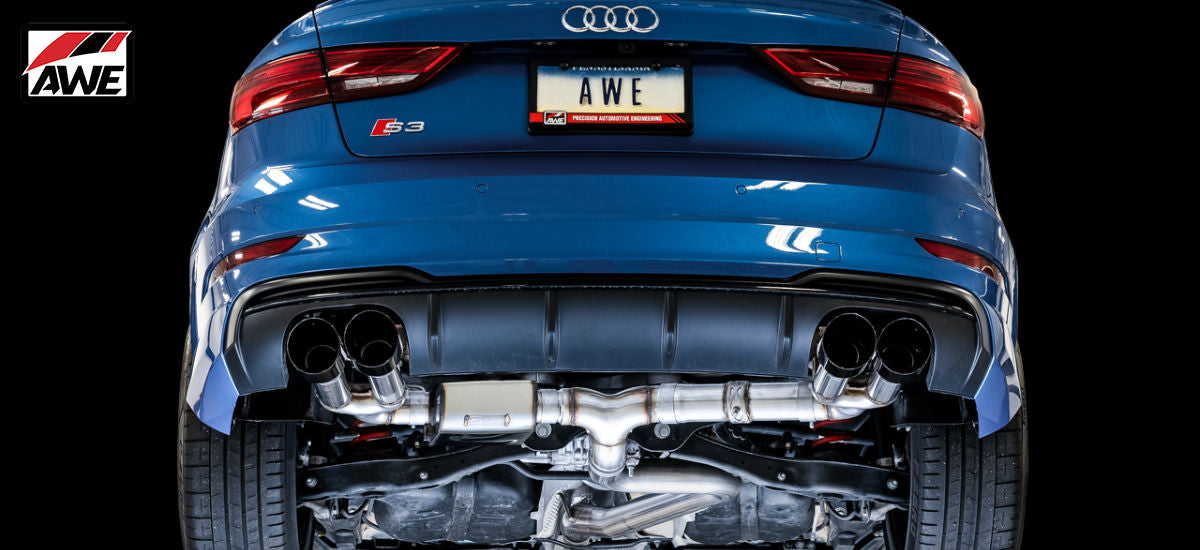 AWE Tuning SwitchPath Exhaust System Quad Black Tips Audi S3 MQB 8V | AWE 3025-43072