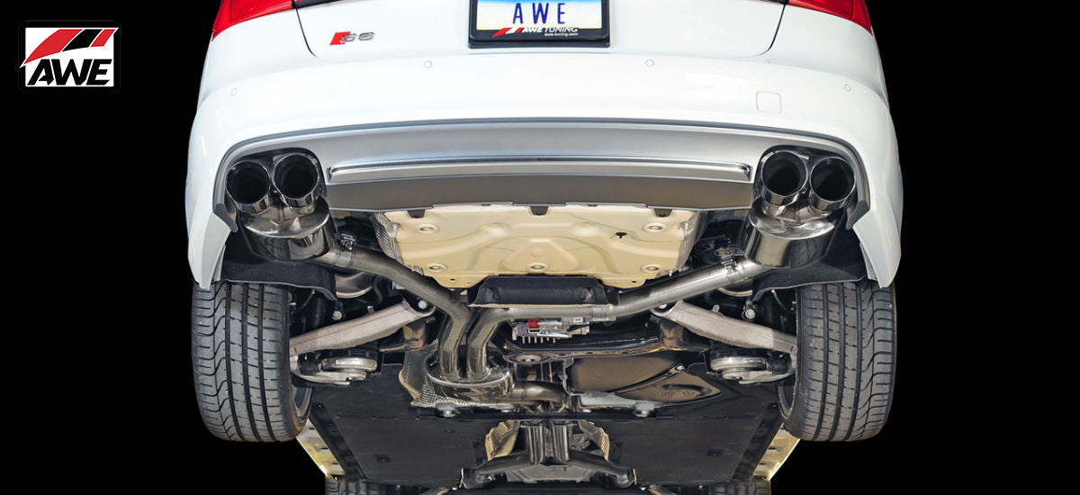 AWE Tuning Touring Edition Exhaust System Quad Polished Tips Audi S6 C7 C7.5 | AWE 3415-42010
