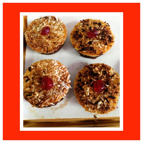 Mini Cheesecakes with Toasted Amaretti & Coconut Topping