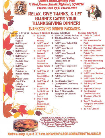 Thanksgiving Packages Catering Menu