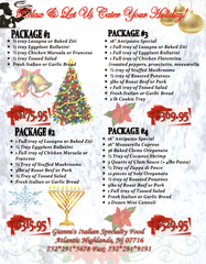 Holiday Packages Catering Menu
