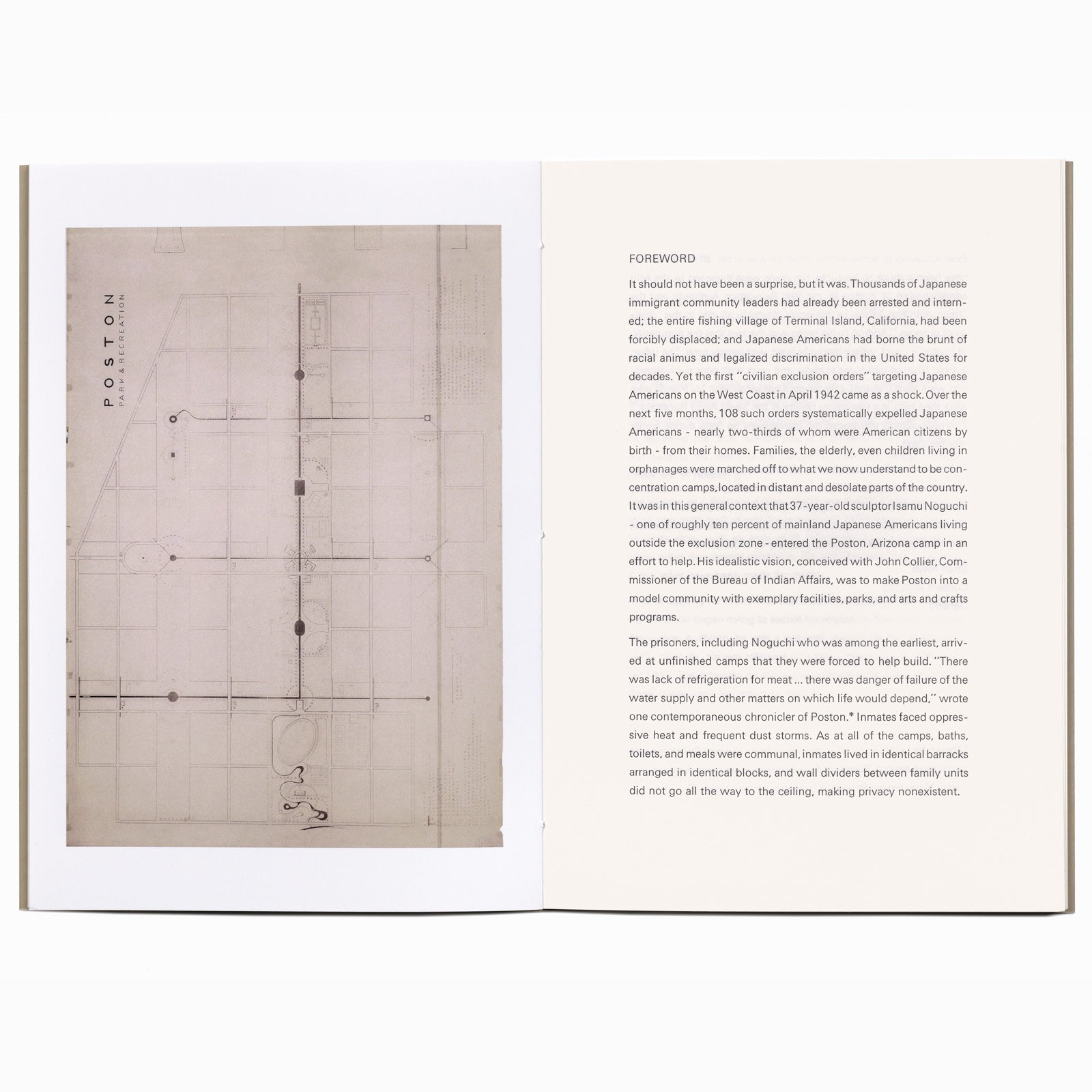 Book spread with Isamu Noguchi's blueprint for Parks and Recreation areas for the Japanese American incarceration camp at Poston, Arizona, facing the Foreword by Brian Niiya