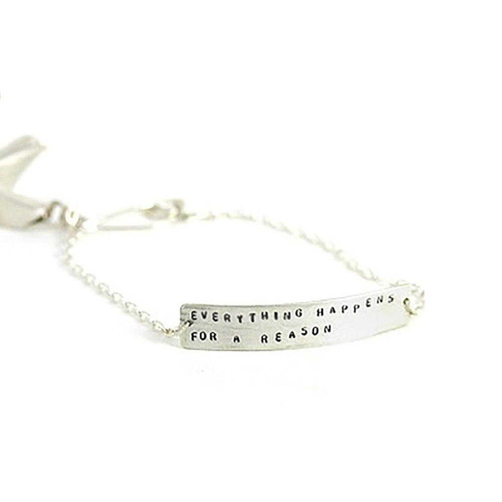 Handmade Sterling Silver chain bracelet with fortune cookie charm and stamped message bar ; Polkadot Boutique
