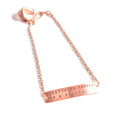 Handmade Rose Gold Plated chain bracelet with fortune cookie charm and stamped message bar ; Polkadot Boutique
