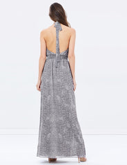 Grey Snake Print Halter maxi dress; Jet Set Diairies ; Polkadot Boutique