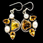 925 Silver earrings with Citrine and Cultured Pearls