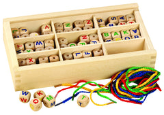 Wooden letter beads