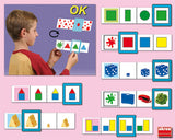 Self-correcting cards - colours, shapes and sizes
