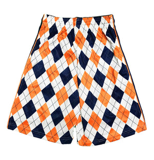 Mens Navy & Orange Argyle Attack Short
