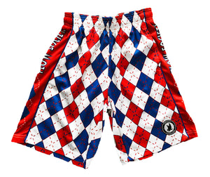 Mens Red, White & Blue Argyle Attack Short