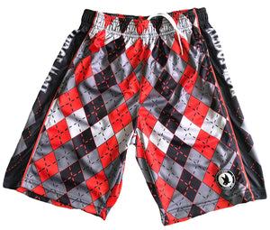 Boys Red & Grey Argyle Shorts