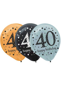 40 - Sparkling Celebration Balloon - Happy Birthday 12in Latex Balloons 15pk