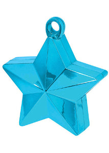 Blue - Caribbean Blue Electroplated Star Balloon Weight 4in